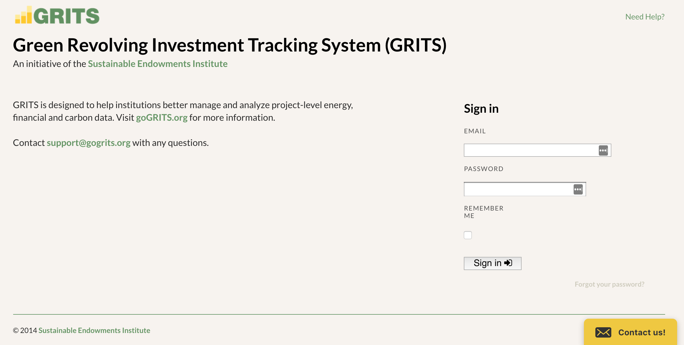 GRITS Sign-in Page